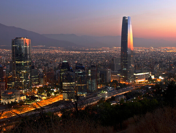 Santiago Chile Night Time Lights Rental Office