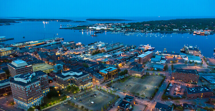 City of Porltand Maine Nighttime Lights